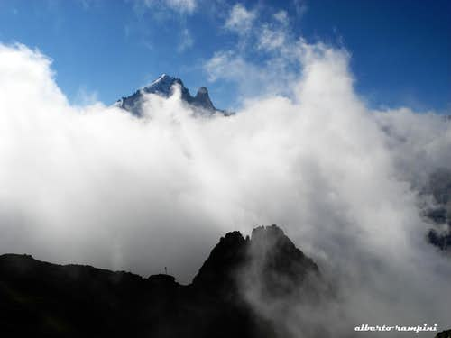 Sea of clouds over Aiguille Verte and Dru