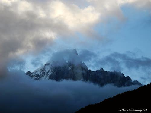 Dawn over the Dru standing out from the clouds