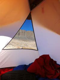 view from the tent in the back-country
