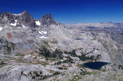 Mt. Ritter, Banner Peak, and Lake Ediza from the summit