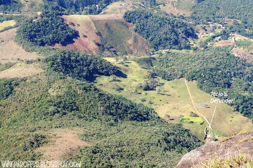 Tacio's car as seen from the top of Papagaio
