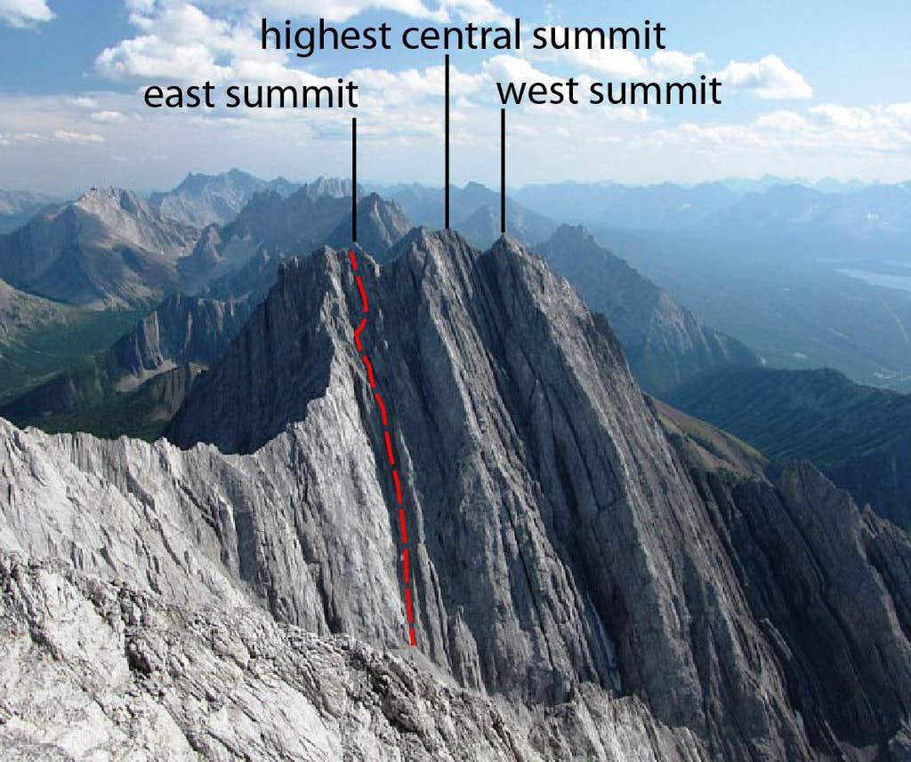 Routes and summits marked