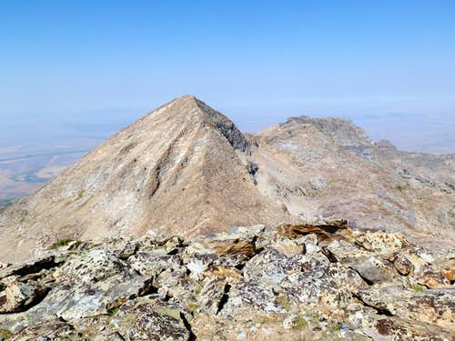 Ruby Dome and Lee Peak seen from the summit of Ruby Pyramid