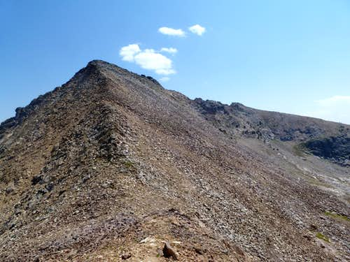 Looking up at the summit ridge to Ruby Pyramid