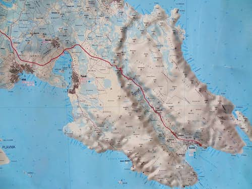 Map of the SE of the Krk island