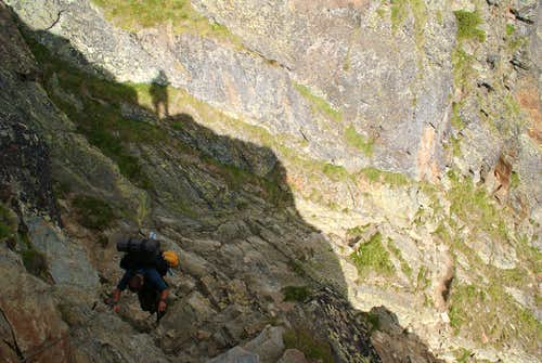 Descending on the rocky passages