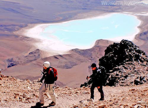 Green lagoon as seen from Licancabur summit
