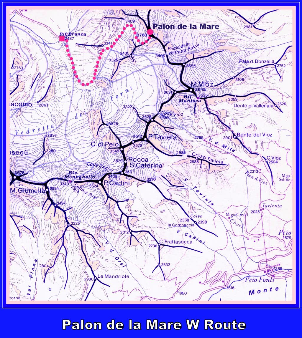 Palon de la Mare SW Flank map