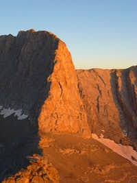 The north face of Stefani at sunset