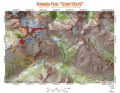 Map of route up Soviet Route on Bonanza