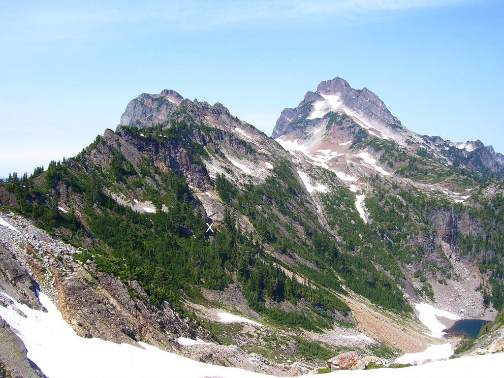 Looking back at the traverse route from Gothic Basin - Sheep Gap Mountain