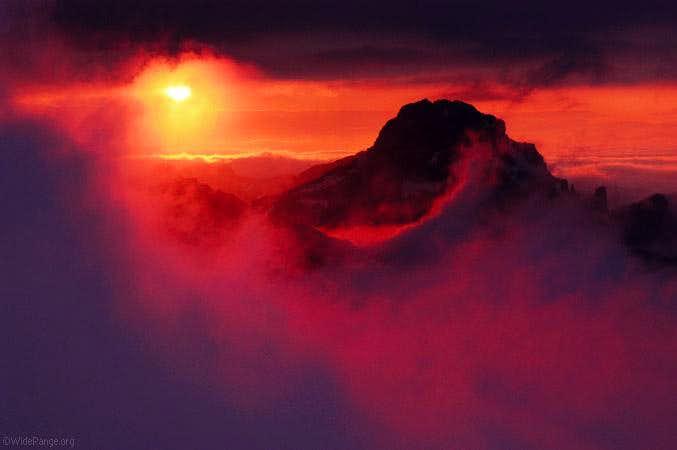sunset behind Razor as seen...
