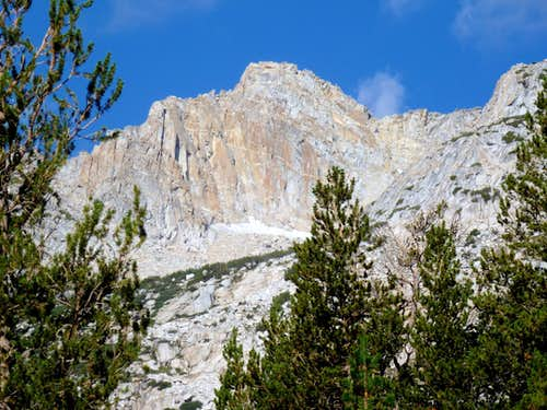 View of Conness Plateau southeast summit from the approach trail via the South Slope route