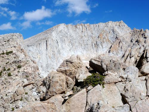 Looking up at the plateau from the saddle between White Mountain and Mount Conness