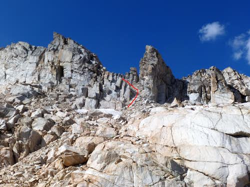 The climbing route up the chute to White Mountain via the south slopes route from the east