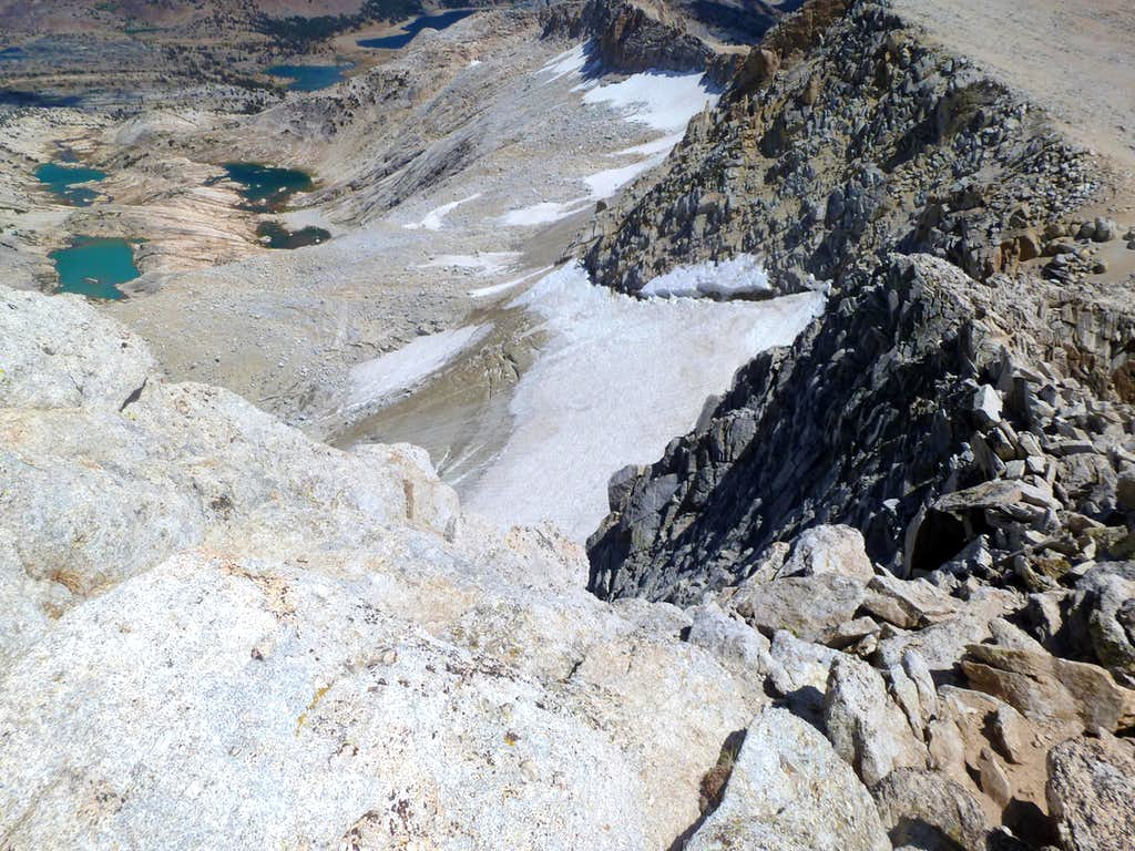 View down the cliff from the Conness Summit - Conness Lakes on the left