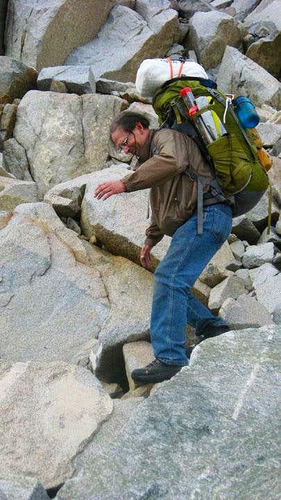 Silver Fox Pass talus descent