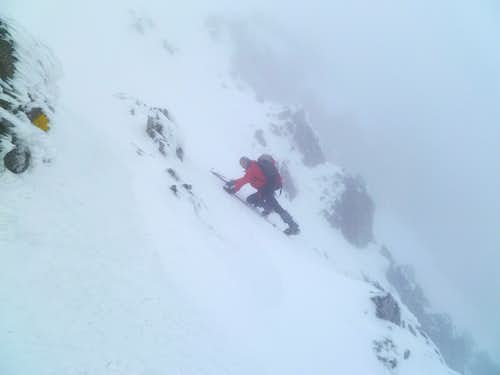 Ascending the final slope to the summit