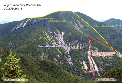 Route of Dix Slides: 2012 August 18