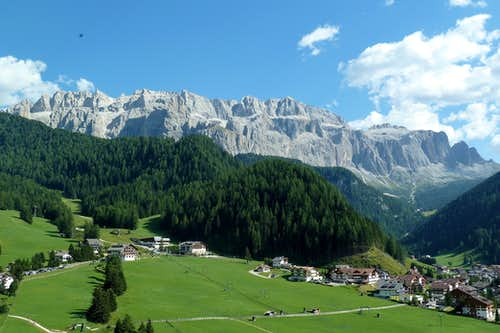 Selva di Val Gardena with the Sella group in the background