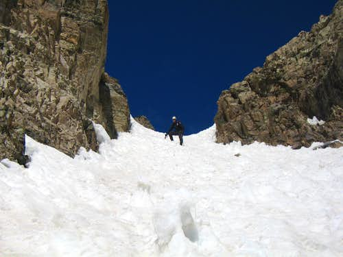 Descending the steep gully