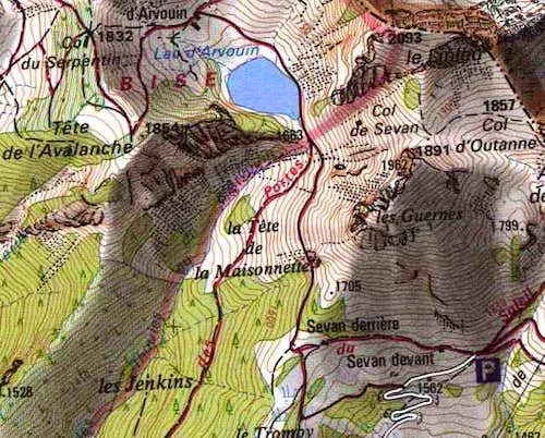 Mount Linleu, map of the...