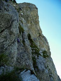 Nearing the top of the vertical section of the pillar