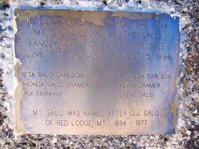 The Salo Plaque on the Summit...
