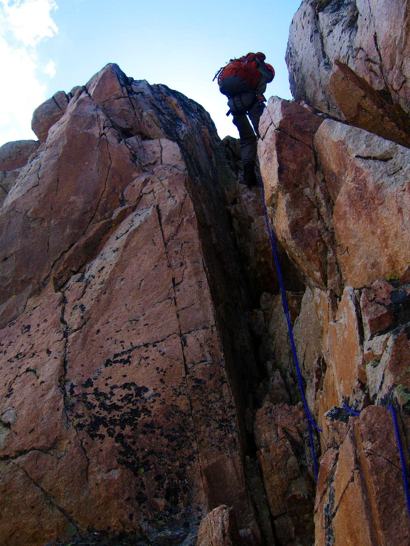 Rappelling off Granite Peak