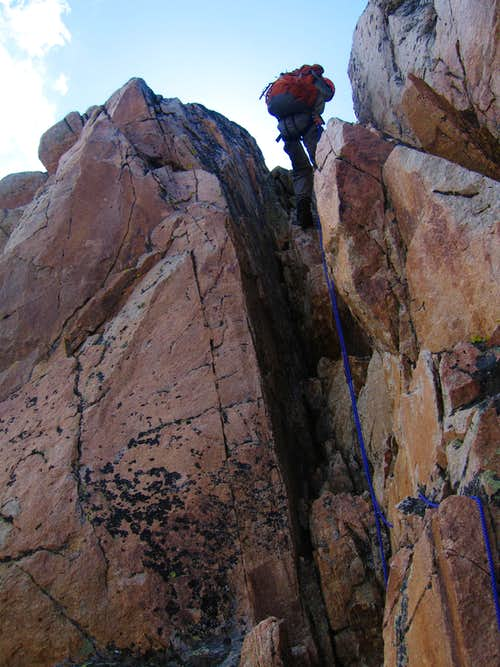 Rappelling off Granite Peak