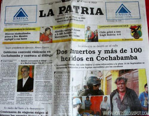 Newspaper Oruro jan 2007