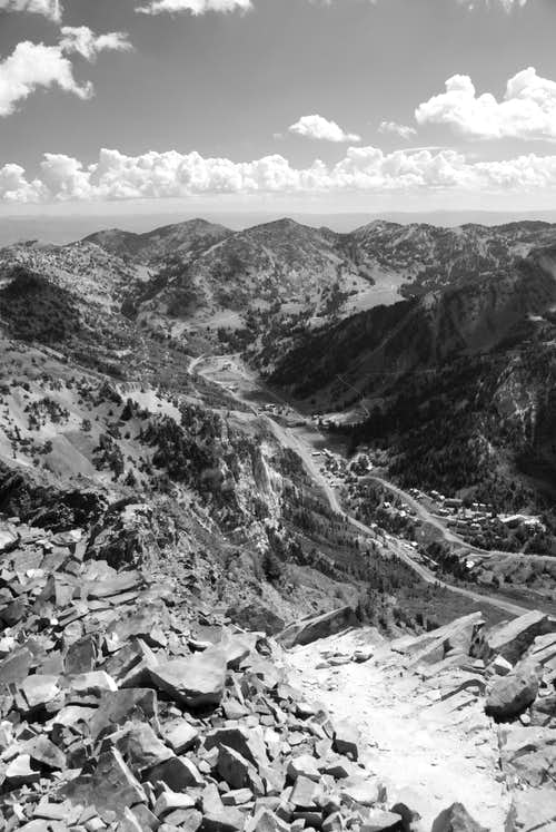 View up Little Cottonwood Canyon from the summit