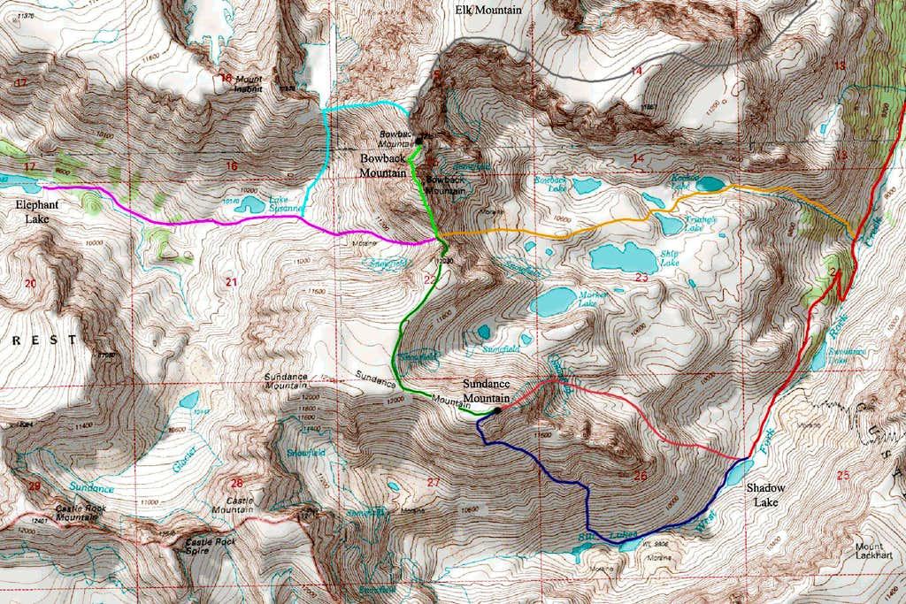 Bowback and Sundance Mountains Map