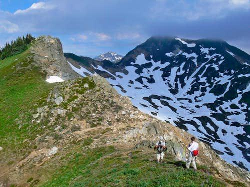 Hiking towards Red Pass