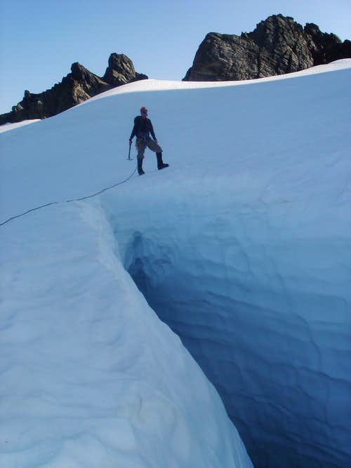 Jeramy and a massive crevasse