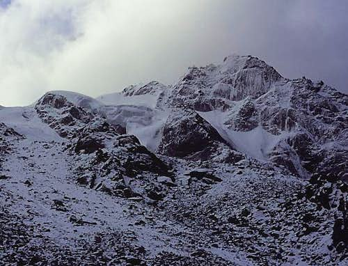 Niupeng north face on stormy...