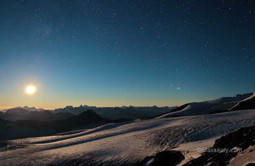 Moon set on Elbrus