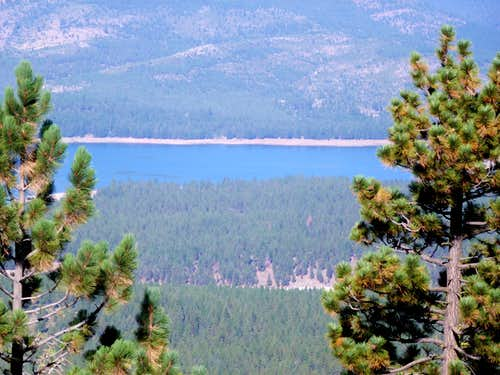 View down to Stampede Reservoir from the west side road