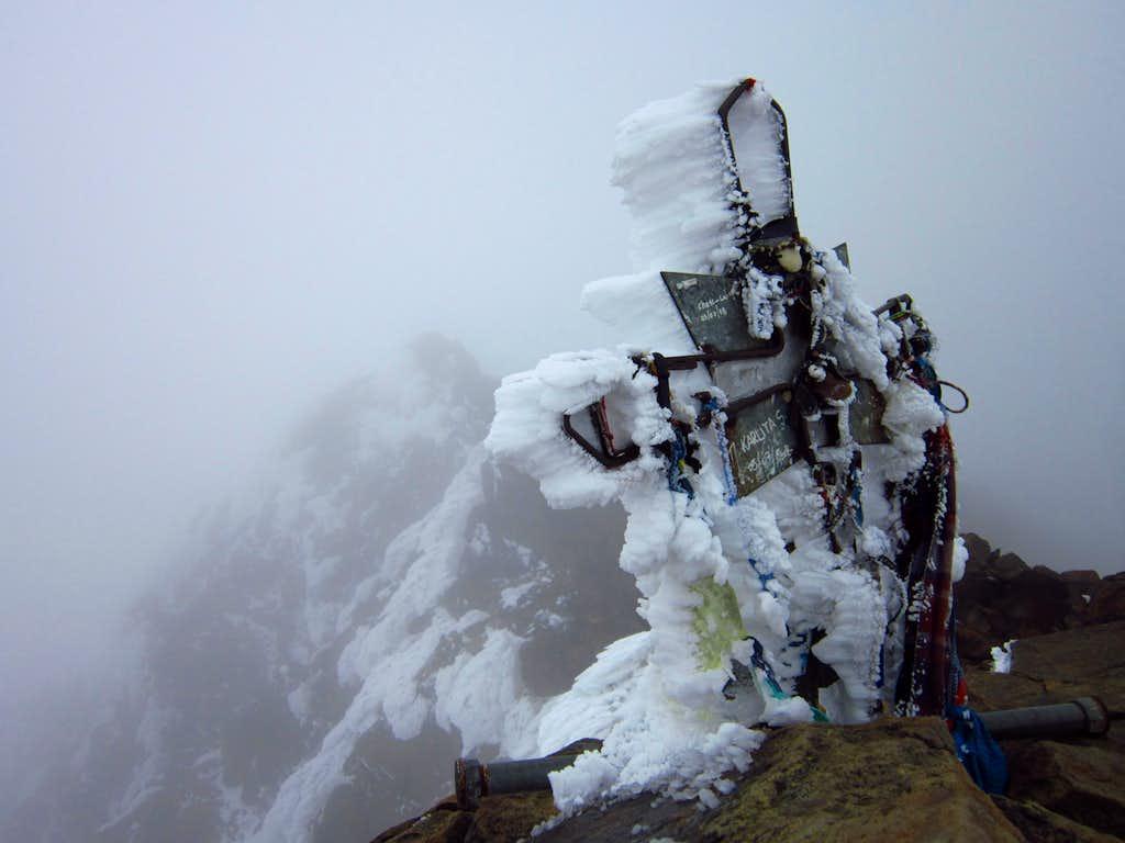 The cross on the summit of Illiniza Norte
