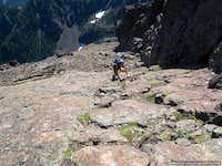 Climbing class 3 rock near the summit