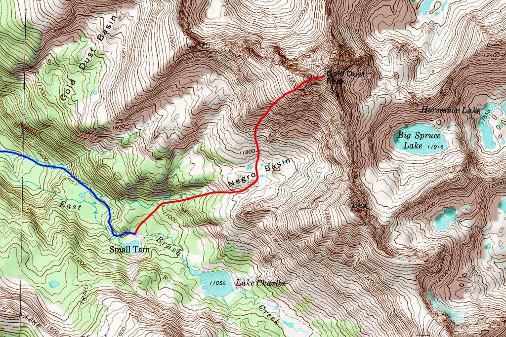 Gold Dust Peak Map