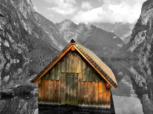 The little boat-house at Fischunkelalm on Lake Obersee - a cutout