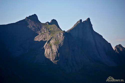 Rocky spires above Reine