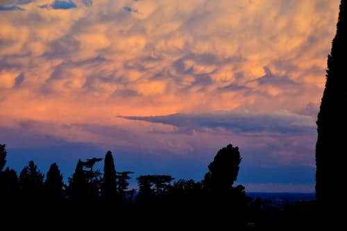 Remarkable evening clouds over Asolo, Northern Italy