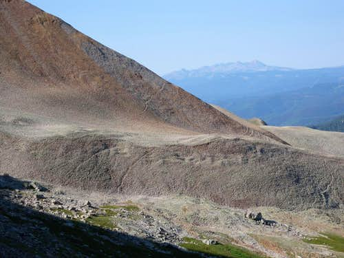 "Looking back at the ""red talus ridge"""