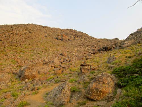 ascending rocky slopes