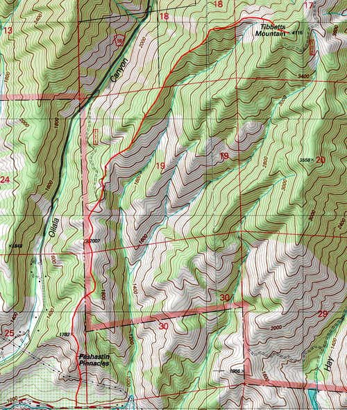 Tibbetts Topographic Map