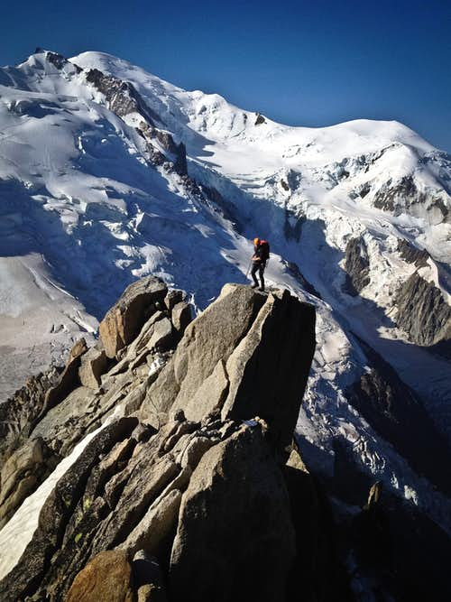 Michael at the top of the Cosmique Arete