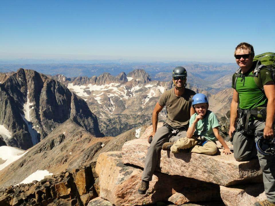 father and nine year old son climb Granite Peak