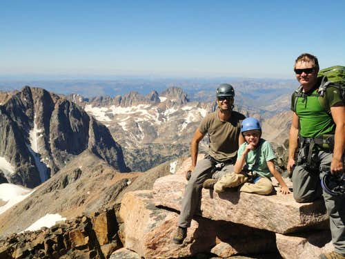 father and nine year old son climb Granite Peak